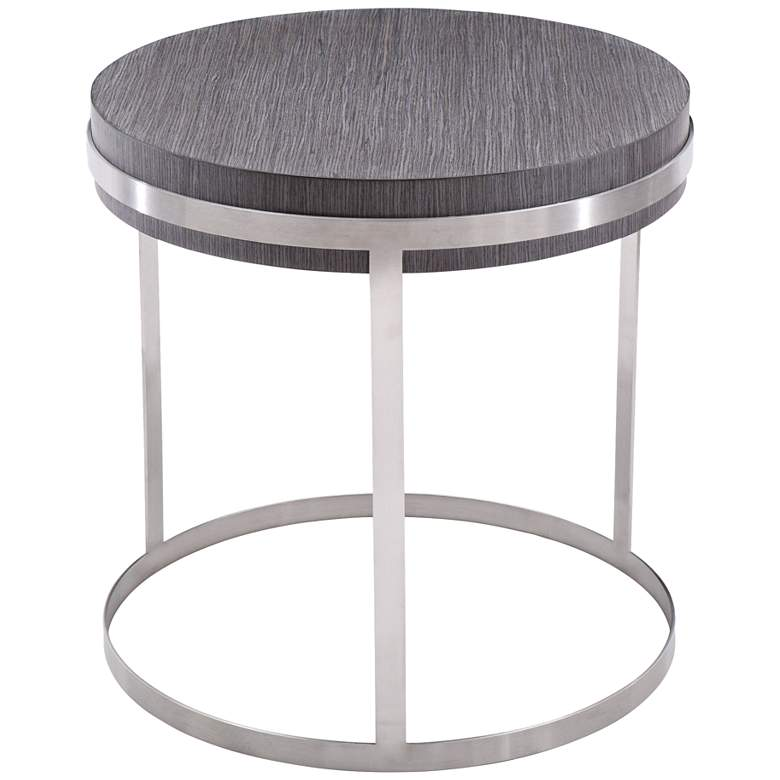 """Sunset 24"""" Wide Gray Wood Round End Table"""
