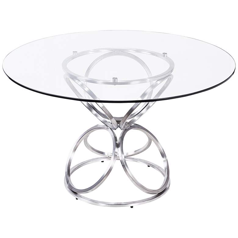 Brooke Gray Painted Glass Round Dining Table