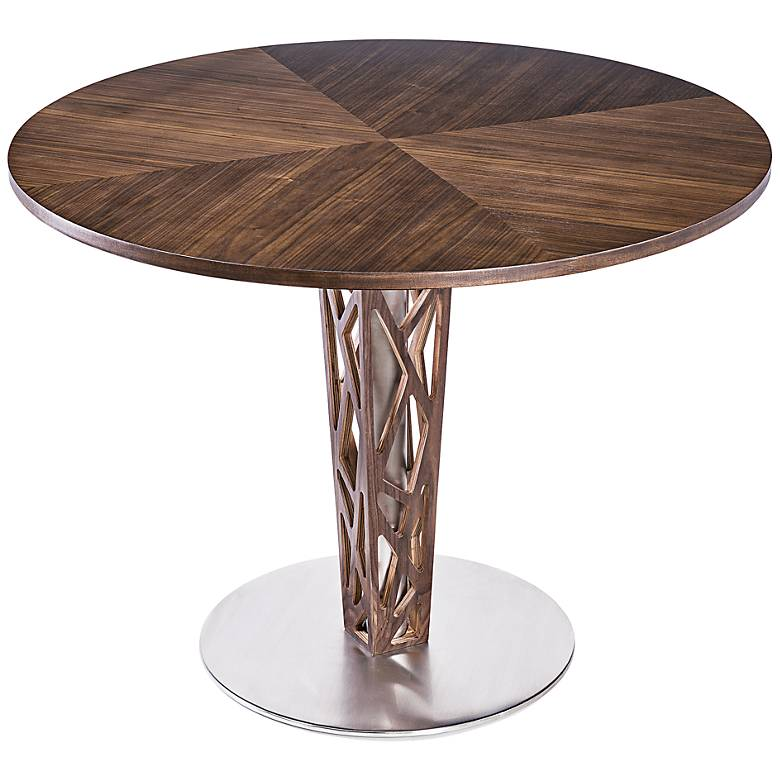 "Crystal 48"" Wide Walnut Veneer Round Dining Table"