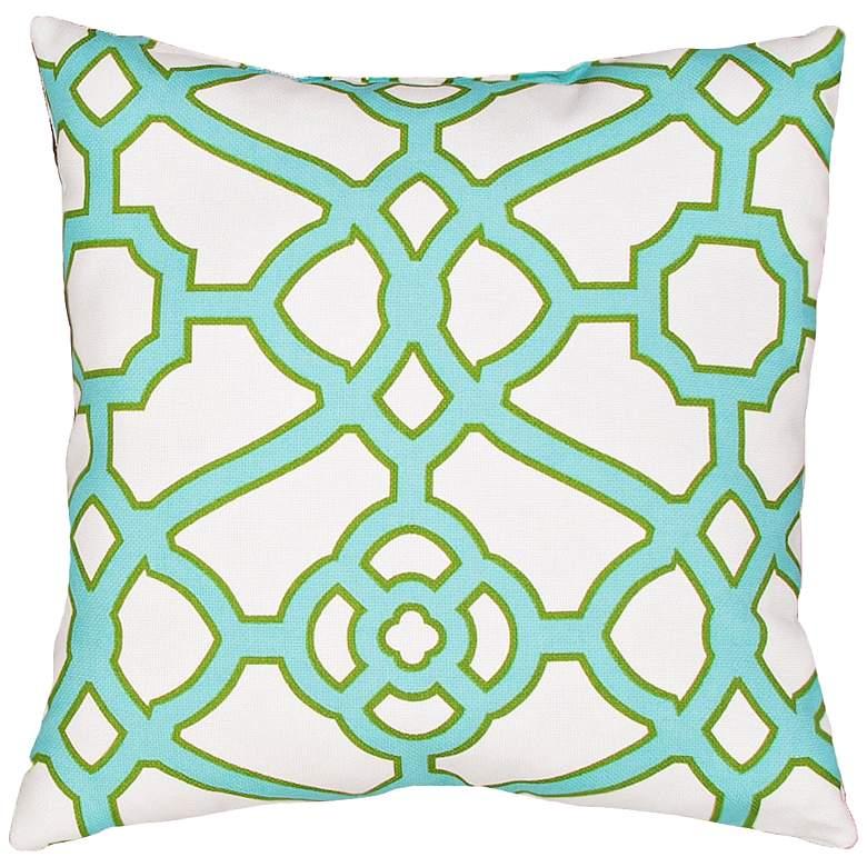"""Jaipur Veranda Gate Green 18"""" Square Indoor-Outdoor Pillow"""