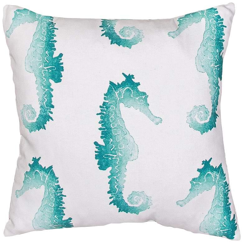 """Jaipur Veranda Blue Seahorse 18"""" Indoor-Outdoor Pillow"""