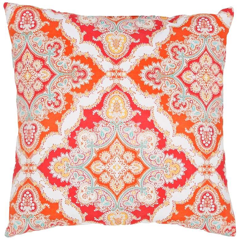 "Jaipur Veranda Tribal Tile Red 18"" Square Decorative"