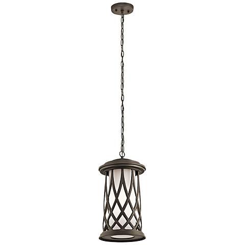 "Kichler Pebble Lane 17 3/4""H Bronze Outdoor Hanging Light"
