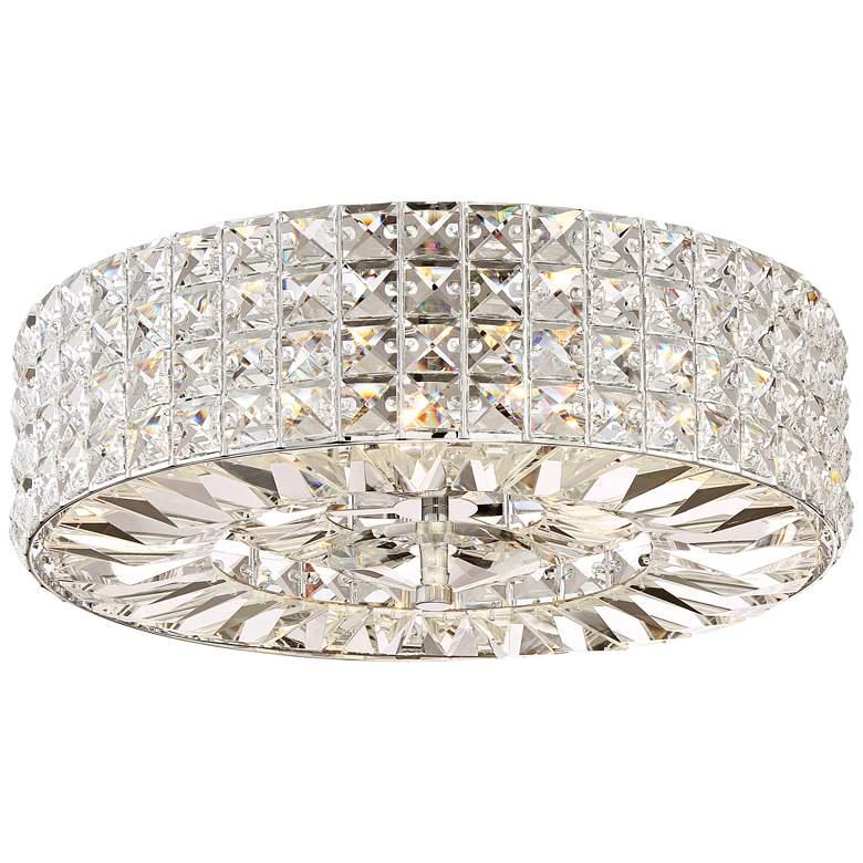 "Possini Euro Avera 15 1/2"" Wide Chrome Crystal Ceiling Light"