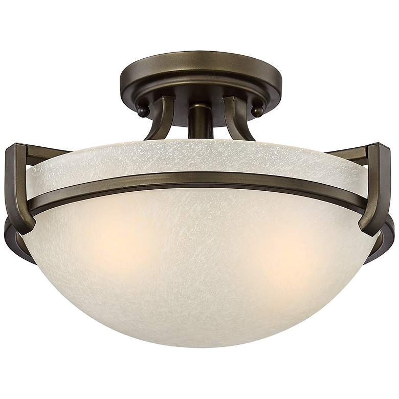 """Mallot 13"""" Wide Bronze and Champagne Glass Ceiling Light"""