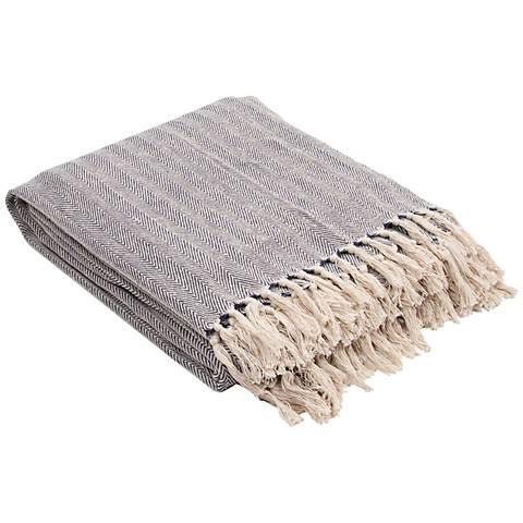 Jaipur Seabreeze Blue Cotton Fringe Throw Blanket