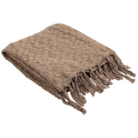 Jaipur Gem Gray-Brown Cotton Fringe Throw Blanket