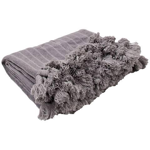 Jaipur Native Gray Fringe Wool Throw Blanket