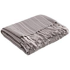 Jaipur Posy Gray Dot Dash Fringe Throw Blanket