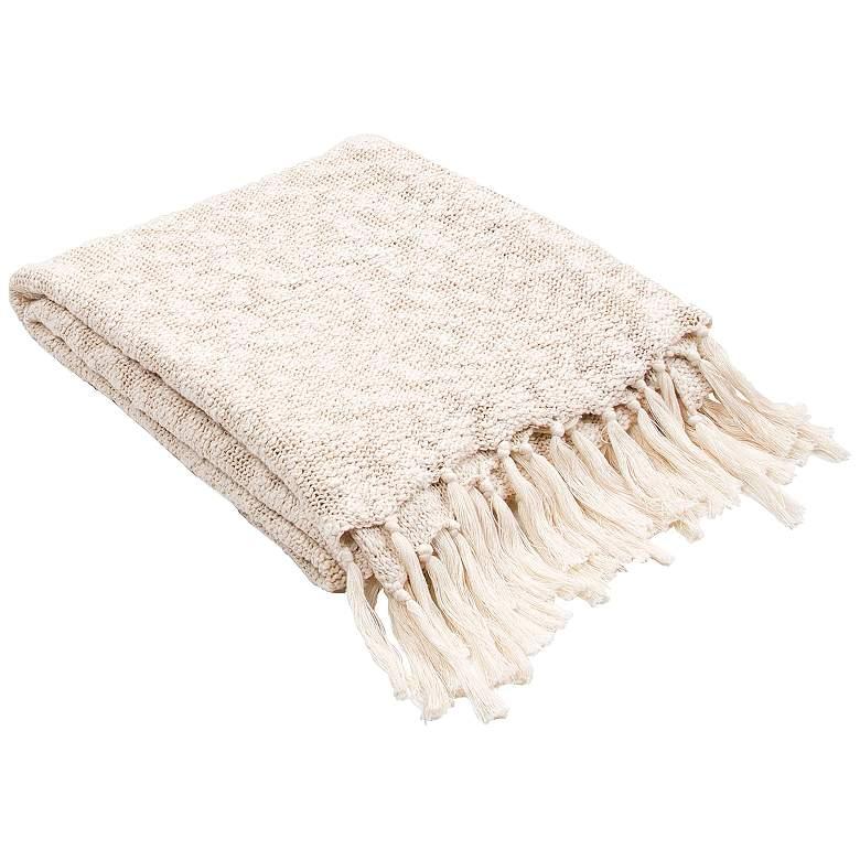 Jaipur Gem Soft Ivory Cotton Fringe Throw Blanket