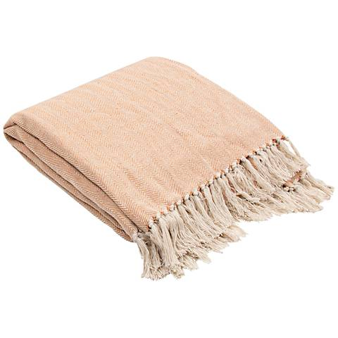 Jaipur Seabreeze Soft Orange Cotton Fringe Throw Blanket