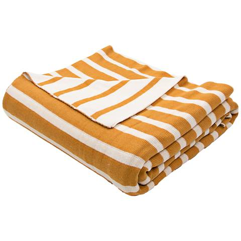 Jaipur Trinity Golden Yellow and Ivory Cotton Throw Blanket