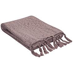 Jaipur Gem Mauve Pink Cotton Fringe Throw Blanket
