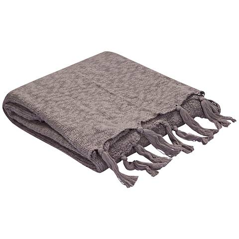 Jaipur Gem Gray Cotton Fringe Throw Blanket