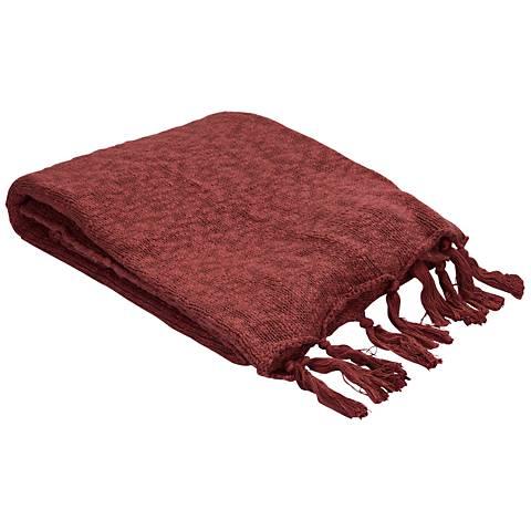 Jaipur Gem Marsala Red Cotton Fringe Throw Blanket