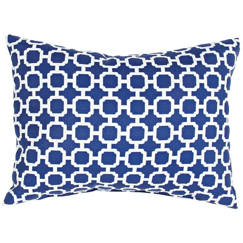 "Jaipur Veranda Chain Blue 18""x13"" Indoor-Outdoor Pillow"
