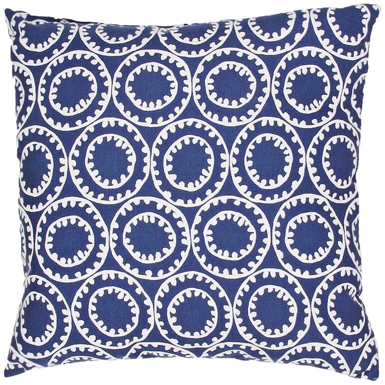 "Jaipur Veranda Circle Dark Blue 18"" Indoor-Outdoor Pillow"