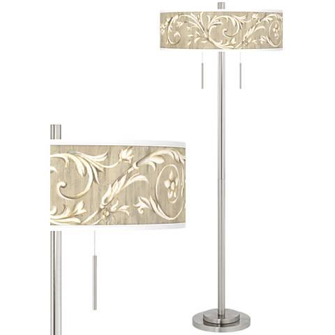 Laurel Court Taft Giclee Brushed Nickel Floor Lamp