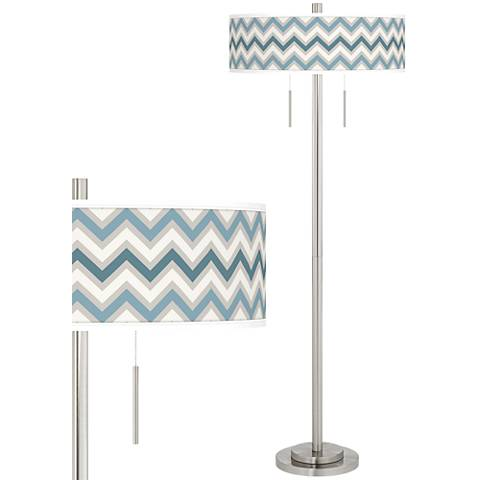 Wave Zig Zag Taft Giclee Brushed Nickel Floor Lamp