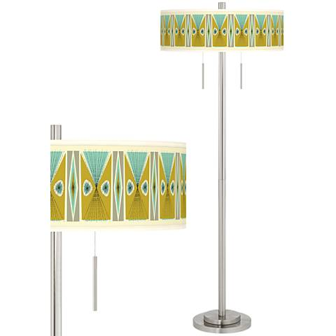 Vernaculis III Taft Giclee Brushed Nickel Floor Lamp