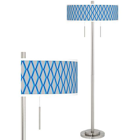 Bleu Matrix Taft Giclee Brushed Nickel Floor Lamp