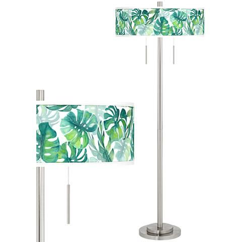 Tropica Taft Giclee Brushed Nickel Floor Lamp