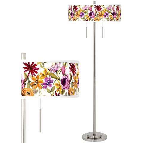 Bountiful Blooms Taft Giclee Brushed Nickel Floor Lamp