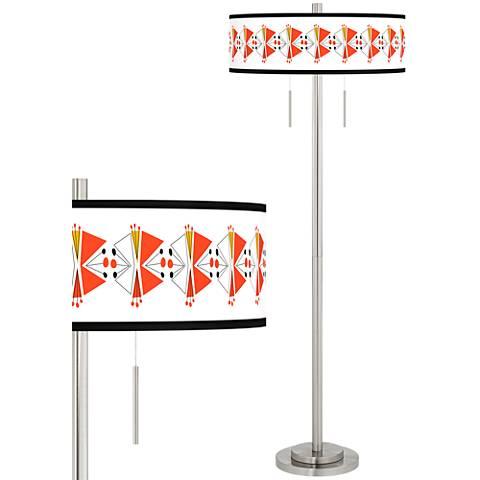 Lexiconic III Taft Giclee Brushed Nickel Floor Lamp
