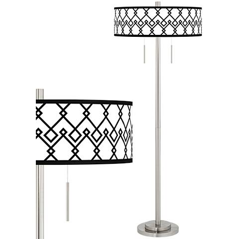 Diamond Chain Taft Giclee Brushed Nickel Floor Lamp