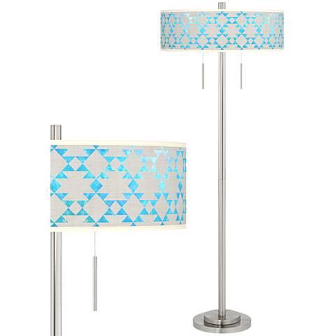 Desert Aquatic Taft Giclee Brushed Nickel Floor Lamp