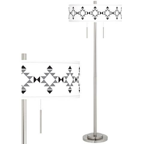 Desert Grayscale Taft Giclee Brushed Nickel Floor Lamp