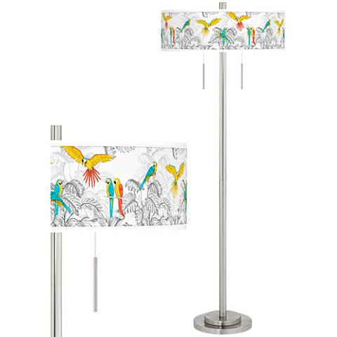 Macaw Jungle Taft Giclee Brushed Nickel Floor Lamp