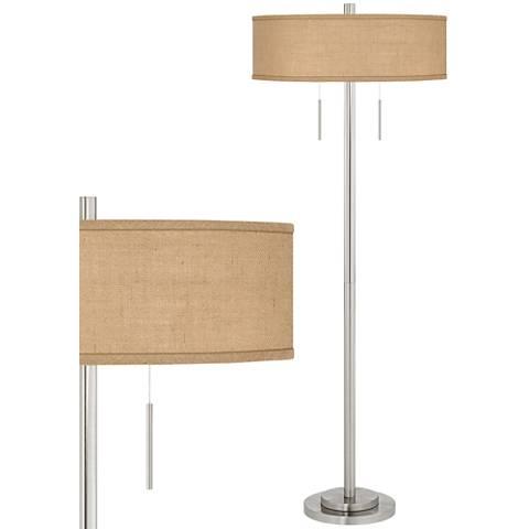 Woven Burlap Taft Brushed Nickel Floor Lamp