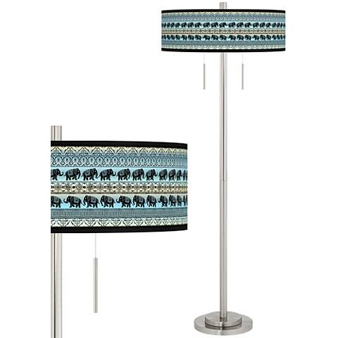 Elephant March Taft Giclee Brushed Nickel Floor Lamp