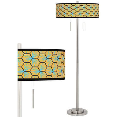 Hexagon Starburst Taft Giclee Brushed Nickel Floor Lamp
