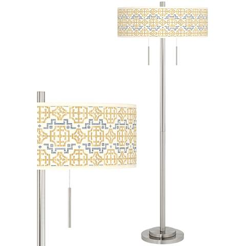 Willow Chinoiserie Taft Giclee Brushed Nickel Floor Lamp