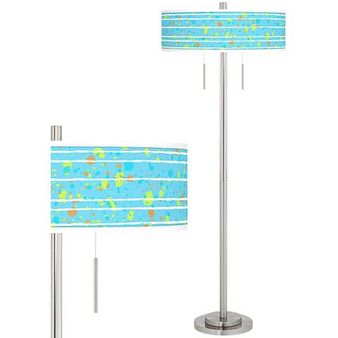 Paint Drips Taft Giclee Brushed Nickel Floor Lamp