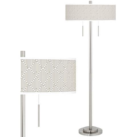 Diamond Maze Taft Giclee Brushed Nickel Floor Lamp