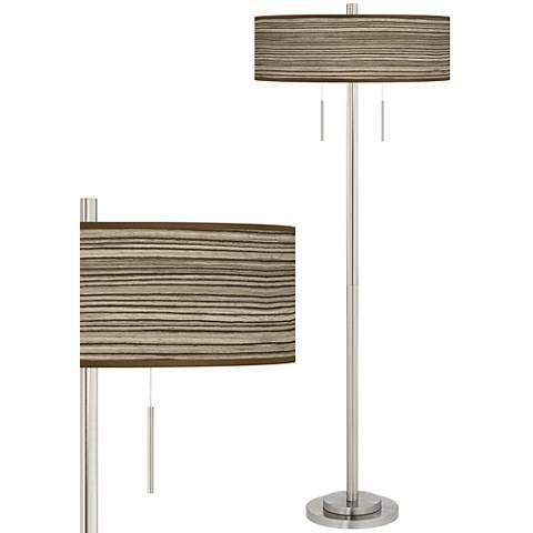 Cedar Zebrawood Taft Giclee Brushed Nickel Floor Lamp