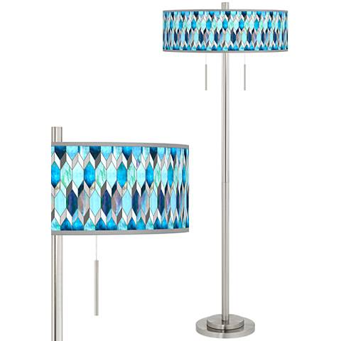 Blue Tiffany-Style Taft Giclee Brushed Nickel Floor Lamp