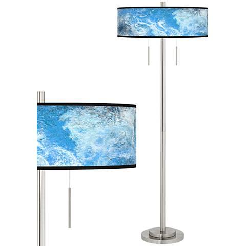 Ultrablue Taft Giclee Brushed Nickel Floor Lamp