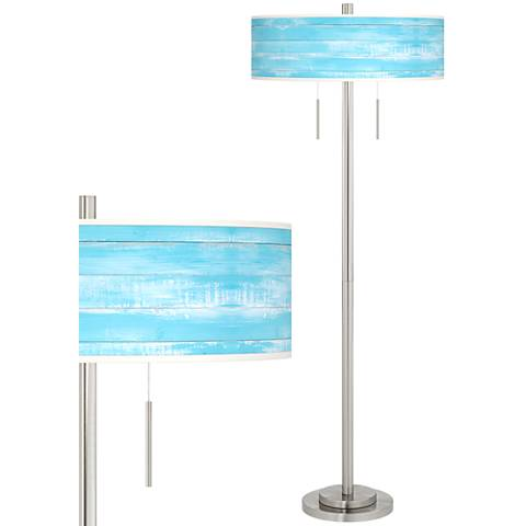 Barnyard Blue Taft Giclee Brushed Nickel Floor Lamp