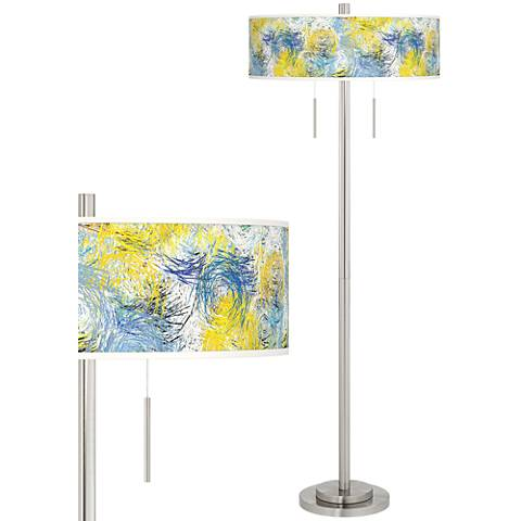 Starry Dawn Taft Giclee Brushed Nickel Floor Lamp