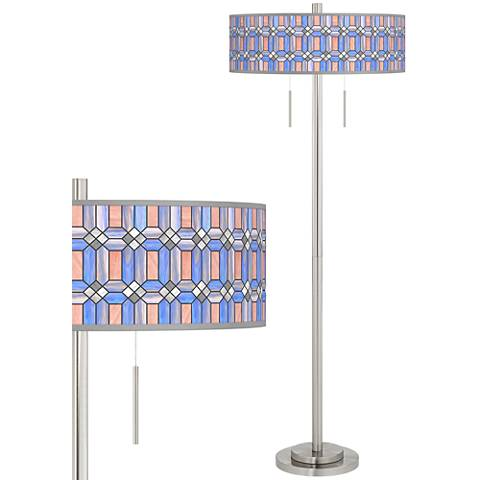 Asscher Tiffany-Style Taft Giclee Brushed Nickel Floor Lamp