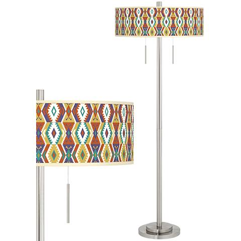 Southwest Bohemian Taft Giclee Brushed Nickel Floor Lamp