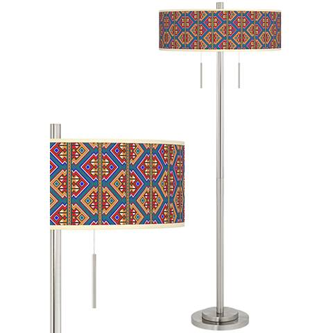 Rich Bohemian Taft Giclee Brushed Nickel Floor Lamp
