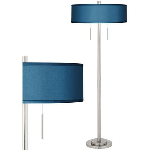 Blue Faux Silk Taft Brushed Nickel Floor Lamp