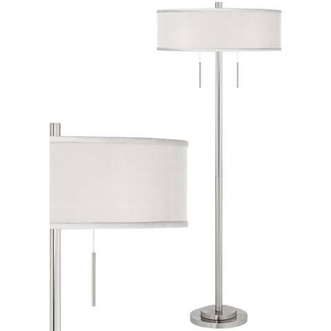 Cream Faux Silk Taft Brushed Nickel Floor Lamp