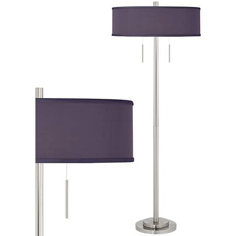 Eggplant Faux Silk Taft Brushed Nickel Floor Lamp