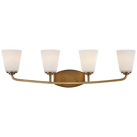 "Artcraft Hudson 31 1/4""W Vintage Brass 4-Light Bath Light"